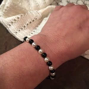 Genuine 14k Pearl & Onyx Bracelet Fine Jewelry